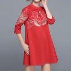 3/4-Sleeve Lace Panel A-Line Mini Dress 1596