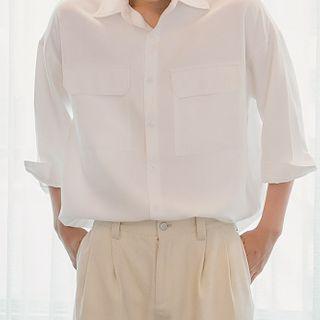 Image of 3/4-Sleeve Flap-Pocket Shirt