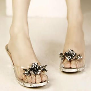 Buy Kvoll Beaded Clear Mules 1022991726