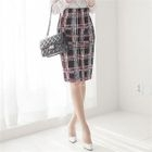 Check Printed Pencil Skirt 1596