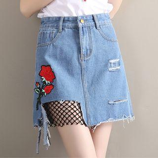 Image of Flower Embroidered Fishnet Panel Denim Skirt