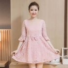 Elbow-Sleeve Lace Maternity Dress 1596