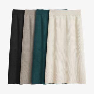 Knit Midi A-line Skirt