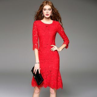 Elbow-Sleeve Lace Sheath Dress 1052894681