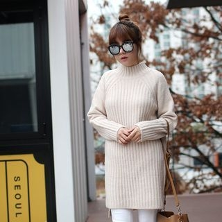 Raglan-Sleeve Ribbed Long Sweater 1056587283
