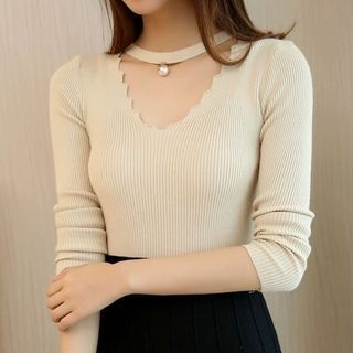 Scallop Trim Ribbed Sweater 1055245769