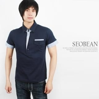 Buy SEOBEAN Contrast-Trim Short-Sleeve Polo Shirt 1022453268