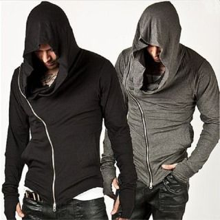 Image of Diagonal Zipped Hooded Top