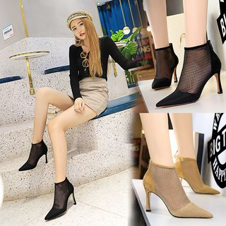 Image of Fishnet High Heel Ankle Boots