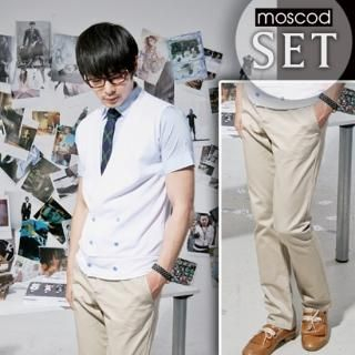 Buy moscod Set: Double-Breasted Vest + Short-Sleeve Shirt 1023027583