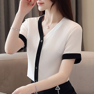 Image of Asymmetric Short-Sleeve Contrast Trim Chiffon Blouse