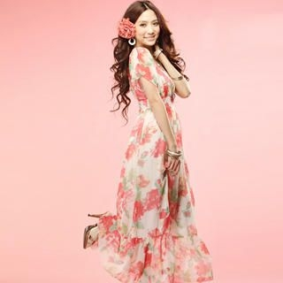 Buy Tokyo Fashion Floral Chiffon Empire Dress 1023065482