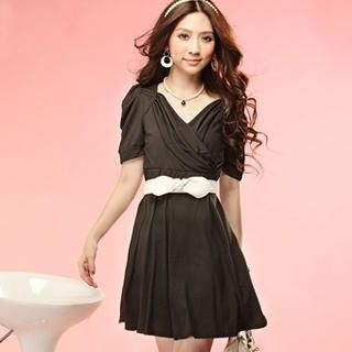 Picture of Tokyo Fashion Shirred Sleeve Wrap-Front Dress 1023065608 (Tokyo Fashion Dresses, Womens Dresses, Taiwan Dresses)