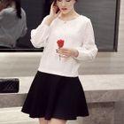 Set: 3/4-Sleeve Frilled-Trim Top + Plain A-Line Skirt 1596