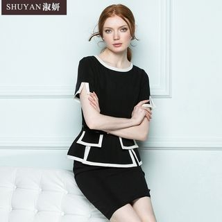 Image of Mock Two-Piece Dress (without Belt)