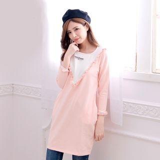 Maternity Frill Trim 3/4 Sleeve Nursing Dress 1053783644