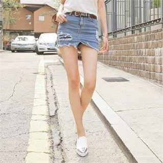 Inset Shorts Distressed Denim Mini Skirt