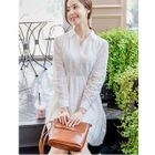 Perforated Long-Sleeve Lace Dress 1596