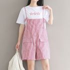 Set: Star Embroidered Short Sleeve T-Shirt + Striped Pinafore Playsuit 1596