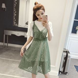Set: Short-Sleeve Long T-Shirt + Strappy A-Line Lace Dress 1060181628