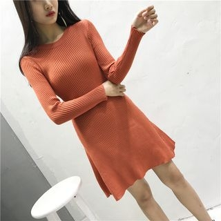 Ribbed Long-Sleeve Knit Dress 1058010503