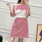 Striped Short-Sleeve Dress 1596