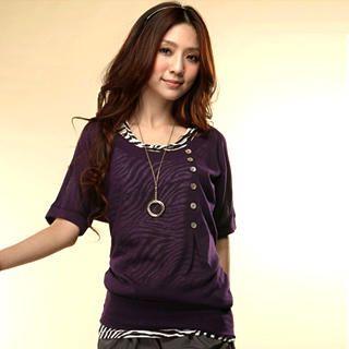 Buy Tokyo Fashion Set: Buttoned Top + Zebra Print Tank Top 1022716888