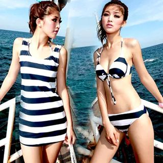 Set: Stripe Bikini + Swimskirt / Stripe Tank Top 1049350683