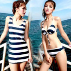 Set: Stripe Bikini + Swimskirt / Stripe Tank Top 1596