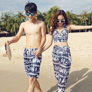 Couple Matching Set: Printed Bikini Top + Swim Shorts + Cover-Up / Printed Swim Shorts 1063803697