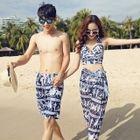Couple Matching Set: Printed Bikini Top + Swim Shorts + Cover-Up / Printed Swim Shorts 1596