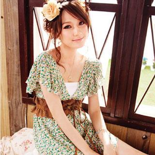 Buy YUMI Floral Pront V-Neck Dress 1022804244