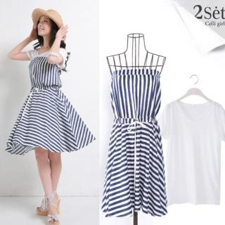 Buy Celli Girl Set: Stripe Strapless Dress + V-Neck Short-Sleeve T-Shirt 1022731279