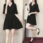 V-neck Short-Sleeve Dress 1596