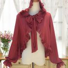 Frill Trim Bow Accent Hooded Jacket 1596