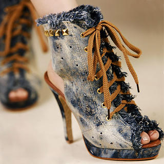 Picture of Kvoll Lace-Up Studded Denim Heels 1023009613 (Other Shoes, Kvoll Shoes, China Shoes, Womens Shoes, Other Womens Shoes)