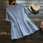 Elbow-Sleeve Pinstriped Blouse 1596