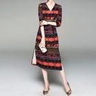 Patterned 3/4-Sleeve A-Line Midi Dress 1596