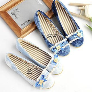 Buy KAWO Ribbon Washed Denim Flats 1023013707