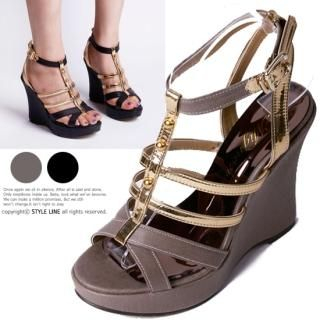 Buy STYLE LINE Metallic Strap Wedge Sandals 1022922210