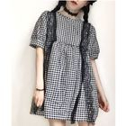 Short-Sleeve Lace Panel Check A-line Dress 1596