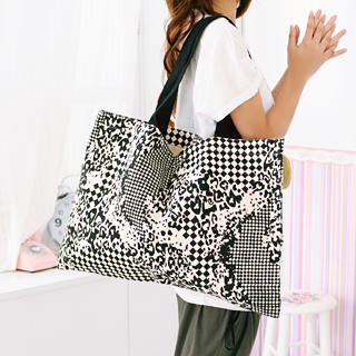 Picture of 59 Seconds Leopard Print Checker Tote Bag Black - One Size 1022919853 (59 Seconds, Tote Bags, Hongkong Bags, Womens Bags, Womens Tote Bags)