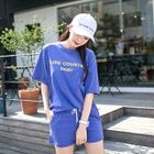 Set: Round-Neck Lettering T-Shirt + Sweat Shorts 1596