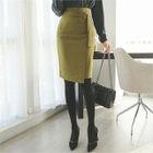 Buckled-Waist Pencil Skirt 1596