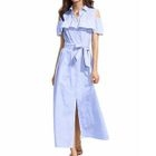 Cold Shoulder Frilled Maxi Shirt Dress 1596