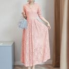 Long-Sleeve Maxi Lace Dress 1596