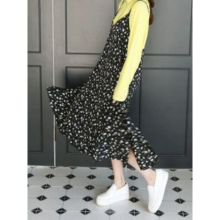 Spaghetti-Strap Ruffled Floral Long Dress 1057436233