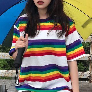 Short-sleeve   Rainbow   T-Shirt   Couple   Stripe