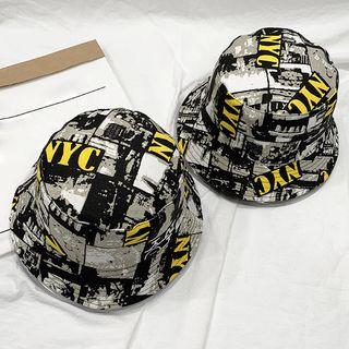 Bucket | Black | Print | Size | Hat | One