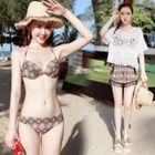 Set: Patterned Bikini + Crochet Cover-Up Top + Shorts 1596